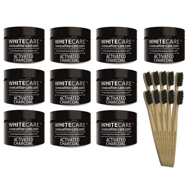 Poudre blanchissante au charbon actif XXL + Brosse à dents en bambou